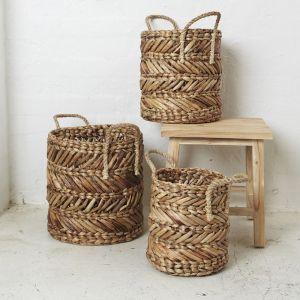 Mikal Natural Waterhyacinth Basket with Rope Handles l Pre Order