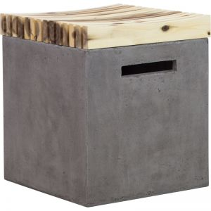 Mikko Concrete Stool & Timber Seat | Dark Grey | Schots