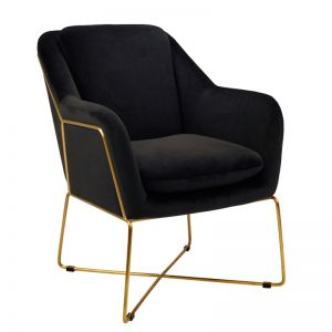 Milan Chair | Velvet and Gold | Black