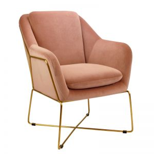 Milan Chair | Velvet and Gold | Blush