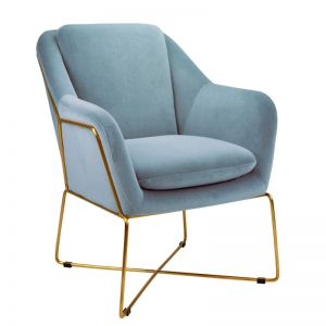 Milan Chair | Velvet and Gold | Dusk Blue
