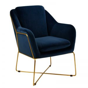 Milan Chair | Velvet and Gold | Navy