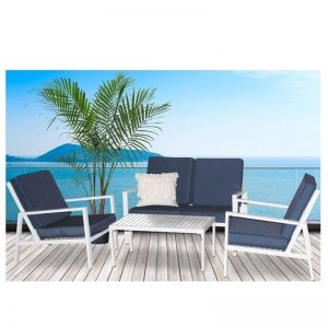 Milano 4 Piece Outdoor Lounge Set | Blue/White