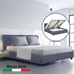 Milano Capri Luxury Gas Lift Bed With Headboard | Charcoal