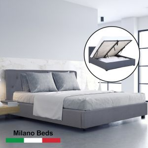 Milano Capri Luxury Gas Lift Bed With Headboard |  Grey