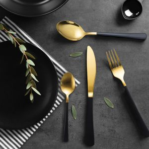 Milano Decor Cutlery | Black & Gold