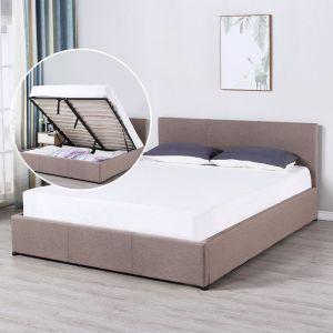 Milano Luxury Gas Lift Bed With Headboard | Beige