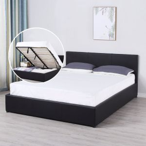 Milano Luxury Gas Lift Bed With Headboard | Black