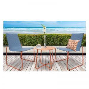 Milano Outdoor 3 Piece Blue/Orange Coffee Set | Steel/Rattan