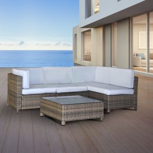 Milano Outdoor 5 Piece Oatmeal and Grey Rattan Sofa Set