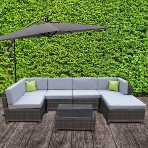 Milano Outdoor 7 Piece Oatmeal And Grey Rattan Sofa Set