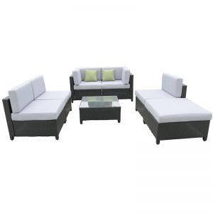 Milano Outdoor 7 Piece Rattan Black and Grey Sofa Set