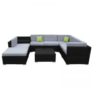 Milano Outdoor 9 Piece Rattan Black And Grey Sofa Set