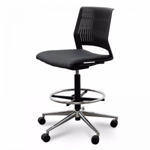 Milas Drafting Chair   Black With Seat Cushion