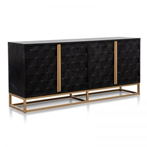 Mildred 1.78m Sideboard | Black Wood with Gold Handle