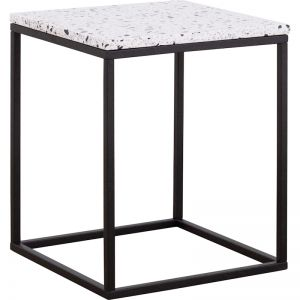 Mina Side Table with Steel Legs | Terrazzo White