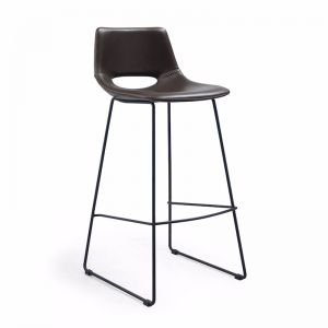 Mindy Stool Metal Black Dark Brown PU