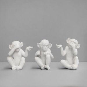 Mini Pointing Monkey Set | White
