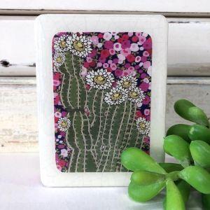 Mini Woodblock | Cactus Bloom