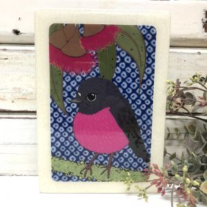 Mini Woodblock | Pink Robin
