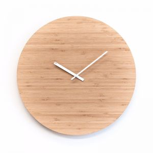 Minimal Wall Clock - Bamboo with white hands