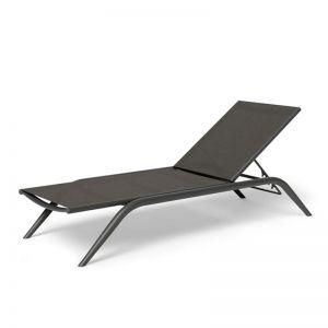Minori Sun Lounge | Matt Charcoal Aluminium with Dark Grey Plexus Mesh