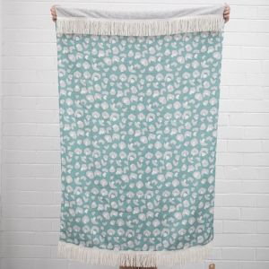 Mint Animal Print Linen Throw I Jak & Co Design