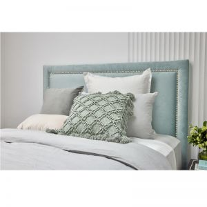 Mint Blue Velvet Studded Upholstered Bedhead | All Sizes | By Martini Furniture