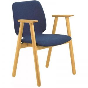 Missie Arm Chair | Oak + Midnight Blue | Modern Furniture