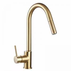 Mizu Drift MK2 Gooseneck Pull Out Sink Mixer Brushed Gold (4 Star) | Reece