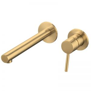 Mizu Drift Mk2 Wall Bath Mixer Set with 2 Cover Plate Design Brushed Gold | Reece