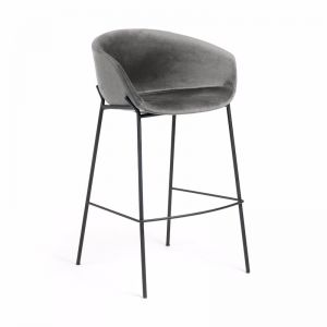 Modine Bench Barstool | Pewter Grey Velvet | CLU Living