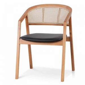 Molina Wooden Dining Chair   Natural with Black Seat