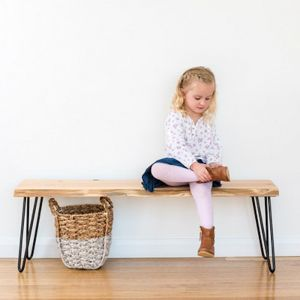 Molly Hall Bench / Seat | Natural edge | BLACK rod hairpin legs