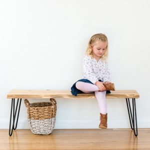 Molly Hall Bench / Seat | Natural edge | WHITE rod hairpin legs