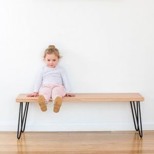 Molly Hall Bench / Seat | Tasmanian Oak | with 2 BLACK rod hairpin legs