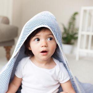 Molly & Moo Hooded Muslin Baby Shawl | Navy Breton Stripe