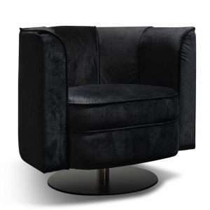 Molly Velvet Armchair | Black Base | Black Velvet