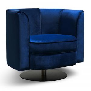 Molly Velvet Armchair | Black Base | Blue Velvet