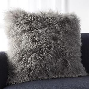 Mongolian Lambswool Grey Cushion | 40 x 40 cm