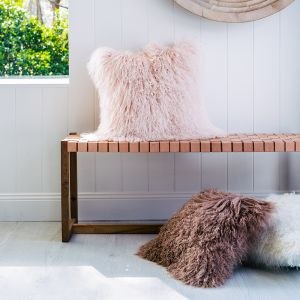 Mongolian Sheepskin Cushion | 40cm Square | Various Colours