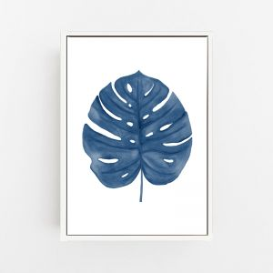 Monstera Fine Living Wall Art in Navy Blue by Pick a Pear | Canvas Wall Art