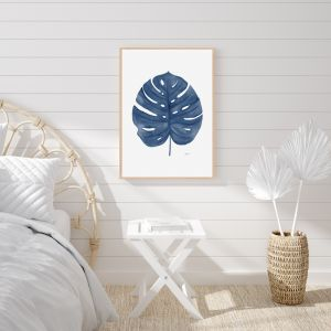 Monstera Living Wall Art in Navy Blue by Pick a Pear | Framed Wall Art