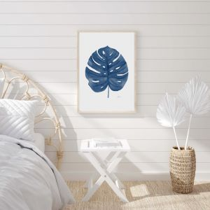 Monstera Living Wall Art in Navy Blue by Pick a Pear | Unframed Print