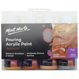 Mont Marte Acrylic Pouring | Fluid Paint Set 120ml 4pc | Metallic
