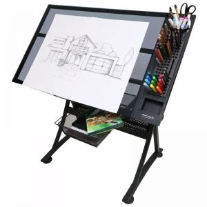 Mont Marte Creative Art | Craft Station Table |  Glass Top Desk