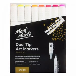 Mont Marte Premium Marker Set | Dual Tip Alcohol Ink Art Markers | 24pc