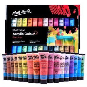 Mont Marte Signature Paint Set | Metallic Acrylic Paint | 24pc x 36ml