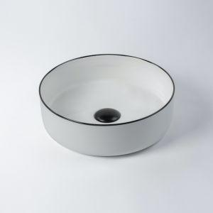 Montalto Circle Contemporary Basin   Black Rim   by Eight Quarters