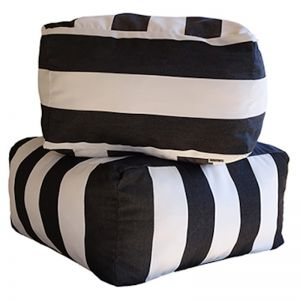 Monte Carlo - Black | Sunbrella Fabric Ottoman | Outdoor Interiors